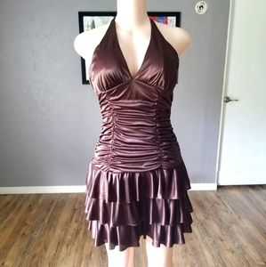 XoXo Collection Brown Ruched Halter Top Dress M